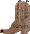 Miscellaneous, AN AMERICAN PLYWOOD BOOT & SHOE REPAIR ADVERTISING SIGN,circa 1985. Marks to brass plate: TOWN OF JACKSON, SE...