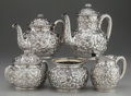 Silver Holloware, American:Tea Sets, A FIVE PIECE DOMINICK & HAFF SILVER AND SILVER GILT TEA ANDCOFFEE SERVICE, New York, New York, circa 1886. Marks: (rectangl...(Total: 5 )