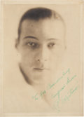 Movie/TV Memorabilia:Autographs and Signed Items, A Rudolph Valentino Signed Sepia Photograph, Circa 1920s....