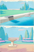 Animation Art:Painted cel background, The Intruders Painted Background Group (Terrytoons,1947).... (Total: 2 Original Art)