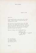 Animation Art:Color Model, Walt Disney Signed Letter (1964)....