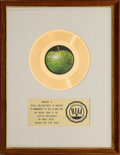Music Memorabilia:Awards, Paul McCartney and Wings Band on the Run RIAA Single GoldRecord Award (Apple Records 1873, 1973)....