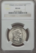 Colombia, Colombia: Republic 50 Centavos 1934(S) MS66 NGC,...