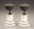Decorative Arts, French:Other , A Pair of Bronze and Marble Garniture Urns. . 19th Century.Bronze and Marble. 11-1/2 inches (29.2 cm). ... (Total: 4 Items)