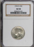 Washington Quarters, 1932-D 25C AU58 NGC....