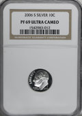 Proof Roosevelt Dimes: , (2) 2006-S 10C Silver PR69 Deep Cameo NGC.... (Total: 2 Coins Item)