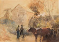 """Movie/TV Memorabilia:Original Art, A Pre-Production Watercolor Set Painting Signed by Wilbur G. Kurtzfrom """"Gone With The Wind.""""..."""