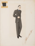 "Movie/TV Memorabilia:Costumes, A Clark Gable Costume Design Sketch Signed by Walter Plunkett from""Gone With The Wind.""..."