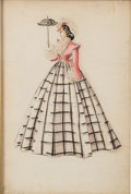 """Movie/TV Memorabilia:Costumes, A Costume Design Sketch by Walter Plunkett from """"Gone With TheWind.""""..."""