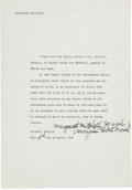 Movie/TV Memorabilia:Autographs and Signed Items, A Margaret Mitchell Signed Deed, 1946....
