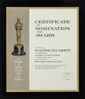 "Movie/TV Memorabilia:Awards, A Walter Plunkett 'Certificate of Nomination for Award' for ""How the West Was Won.""..."