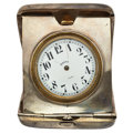 Timepieces:Clocks, Swiss Sterling 8-Day Table Clock. ...