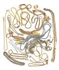 Timepieces:Other , Fourteen Watch Chains Three Necklaces & Two Lady's Clasp's. ...(Total: 19 Items)