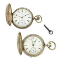 Timepieces:Pocket (pre 1900) , Illinois & Waltham 18 Size Hunter's Case Pocket Watches. ...(Total: 2 Items)