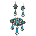 Estate Jewelry:Suites, Antique Turquoise, Diamond, Silver Jewelry Suite. ... (Total: 2Items)