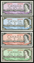 Canadian Currency: , Low Serial Number 0000004 $1-$10 1954 Modified Portrait Beattie-Rasminsky Notes.. ... (Total: 4 notes)