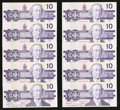 Canadian Currency: , BC-57a $10 1989 Ten Consecutive Examples. ... (Total: 10 notes)