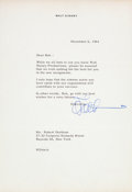 Animation Art:Limited Edition Cel, Walt Disney Signed Letter (1964)....