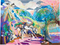 "Animation Art:Production Drawing, Walt Peregoy ""Arabian Horses"" Pastel Painting (c. 1970)...."