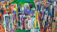 LEROY NEIMAN (American, 1921-2012) Manhattan Panorama, 1980-1984 Oil on board 47 x 83 inches (119