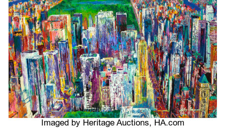LEROY NEIMAN (American, 1921-2012) Manhattan Panorama, 1980-1984 Oil on board 47 x 83 inches (119.4 x 210.8 cm) (sigh...