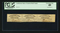 Confederate Notes:Group Lots, Confederate $20 Bond Coupons Strip of Three.. ...