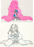 Animation Art:Production Cel, Fritz the Cat Cel Setup with Animation Drawing (RalphBakshi, 1972)....