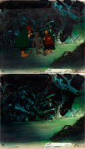 Animation Art:Production Cel, Lord of the Rings Frodo, Gollum, and Samwise Production Celand Master Production Background Setup (Ralph Bakshi, 1978...(Total: 4 Original Art)