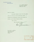 Autographs:U.S. Presidents, Harry Truman Typed Letter Signed ...