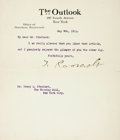 Autographs:U.S. Presidents, Theodore Roosevelt Typed Letter Signed...