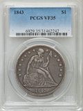 Seated Dollars: , 1843 $1 VF35 ★ PCGS. PCGS Population (37/482). NGC Census: (23/410). Mintage: 165,100. Numism...