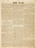 Miscellaneous:Newspaper, [War of 1812] and [USS Constitution]. The War,Newspaper Published by Samuel Woodworth....