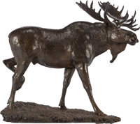 MICHAEL COLEMAN (American, b. 1946) Moose, 1998 Bronze with brown patina 36-3/4 inches (93.3 cm)