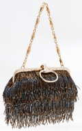 "Luxury Accessories:Bags, Gucci by Tom Ford Blue & Brown Limited Edition Beaded FringeEvening Bag. Excellent Condition. 9"" Width x 5"" Height x..."
