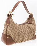 """Luxury Accessories:Bags, Gucci Brown Leather & Beige Monogram Canvas Hobo Bag.Excellent Condition. 15"""" Width x 7"""" Height x 4.5"""" Depth, 10""""Shoulde..."""