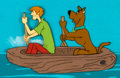 Animation Art:Production Cel, Scooby-Doo, Where Are You? Shaggy and Scooby Production CelSetup with Key Master Background (Hanna-Barbera, 1969)...