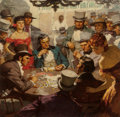 Illustration:Sporting, SAUL TEPPER (American, 1899-1987). Poker Game, circa 1940.Oil on canvas laid on panel. 24 x 24-3/4 inches (61.0 x 62.9 ...(Total: 4 Items)