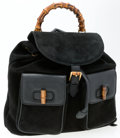 "Luxury Accessories:Bags, Gucci Black Suede & Leather Backpack Bag with Bamboo Handle.Very Good Condition . 12"" Width x 10.5"" Height x 4""Depth..."