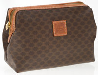 "Celine Brown Monogram Canvas Toiletry Travel Bag Excellent Condition 8.5"" Width x 6.5"" Height x 3"