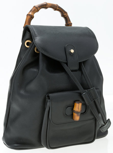 7ab0fc90f0f Gucci Black Leather   Bamboo Backpack Bag. Very Good