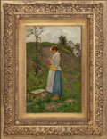 Fine Art - Painting, American:Antique  (Pre 1900), JOHN J. HAMMER (German/American, 1842-1906). The VillageBarefoot, circa 1885. Oil on board. 17 x 10-1/2 inches (43.2 x...