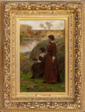 Fine Art - Painting, American:Antique  (Pre 1900), CHARLES YARDLEY TURNER (American, 1850-1918). Expectation,1876. Oil on canvas. 20 x 12-3/4 inches (50.8 x 32.4 cm). Sig...