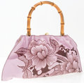 "Luxury Accessories:Bags, Gucci by Tom Ford Pink & Brown Floral Leather Tattoo ShoulderBag with Bamboo Handle. Excellent Condition. 15.5""Width..."