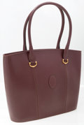 "Luxury Accessories:Accessories, Cartier Leather Large Burgundy Tote Bag. Good Condition.15"" Width x 12"" Width x 3"" Depth, 7"" Handle Drop. ..."