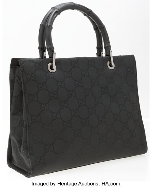 5a6d85b6c653 Very; Luxury Accessories:Bags, Gucci Black Monogram Canvas & Bamboo  Tote Bag . Very ...