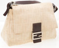 "Luxury Accessories:Bags, Fendi Cream Zucca Monogram Canvas Mama Baguette Bag. GoodCondition. 11"" Width x 8"" Height x 4"" Depth, 7"" AdjustableShoul..."
