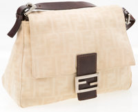 "Fendi Cream Zucca Monogram Canvas Mama Baguette Bag Good Condition 11"" Width x 8"" Height x 4"" Depth, 7&qu..."