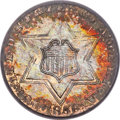 Three Cent Silver, 1856 3CS MS66 PCGS. CAC....