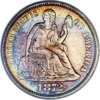 1872-CC 10C MS63 PCGS. Fortin-101, R.5 (R.8 in Mint State)....(PCGS# 4657)