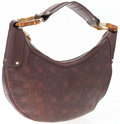 "Luxury Accessories:Accessories, Gucci Brown Leather Ring Hobo Bag with Bamboo Details. GoodCondition. 13.5"" Width x 7"" Height x 3.5"" Depth. ..."